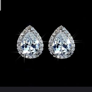 Jewelry - Tear drop shaped .925 CZ studded earings